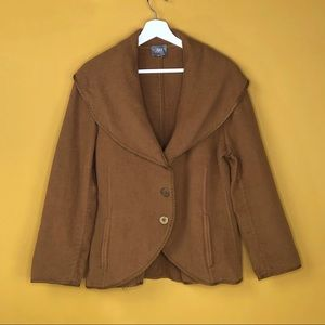 J. JILL Taupe Oversized Collar Jacket Coat
